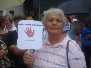 "This lady says, ""Hands off my healthcare!"""